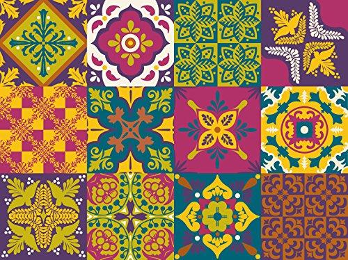 NossaRua Sintra - 12 Vinilos autoadhesivos con patrón de azulejo portugués, colección Sintra; azulejos de vinilo que imitan cerámica hidráulica. Medida: 15 x 15 cm