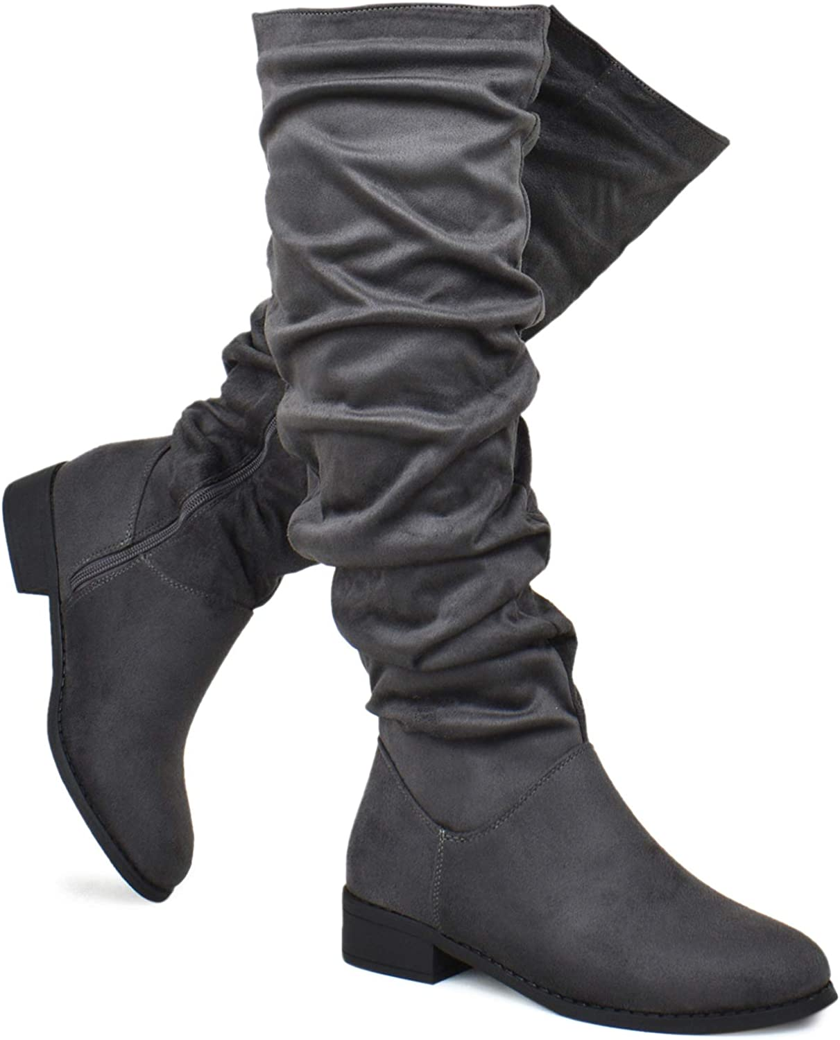 Premier Standard - Women's Fashion Comfy Suede Block Heel - Thigh High Over The Knee Boots