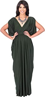 Womens Long V-Neck Summer Sexy Gown Grecian Flowy Sleeveless Maxi Dress