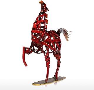 ECSWP MLJW Cadeau de Nouvel an Figurine Animale Sculpture en métal Cheval de Tissage en métal Articles d'ameublement Artis...