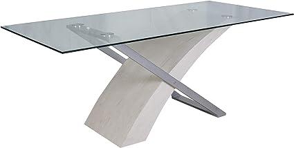 Dmora Moderno 180x90 Cm Legno E Vetro Tavolo Da Pranzo Design Innovativo Bianco Amazon It Casa E Cucina
