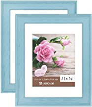 Boichen 11x14 Picture Frames Rustic Solid Wood High Definition Glass for Tabletop Display and Wall Mounting Photo Frame Blue 2 Pack