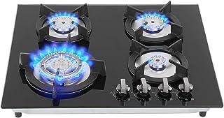 Zerone Plaque de Cuisson à Gaz Domestique, Cuisinière à Gaz Liquéfié Table de Cuisson à Gaz avec 4 Brûleurs 3KW 2KW 1.6KW ...