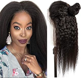 Human Hair 360 Lace Frontal Wigs Yaki Straight 16 Inch Brazilian Virgin Human Hair Lace Front Wigs Pre Plucked with Baby Hair For Black Women Natural Hairline(16 inch 360 Lace Front wigs)
