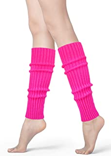 Womens 80s Neon Ribbed Knit Crochet Dance Yoga Leg Warmers Long Socks