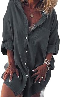 أبيكوك المرأة بلايز الصلبة القطن الكتان كم طويل جيوب زر أعلى بلوزة القمصان