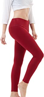 TSLA Yoga Pants Mid-Waist Leggings w Hidden Pocket FYP51/ FYP41 / FYP73, Womens, A-FYP51-WNE, Medium