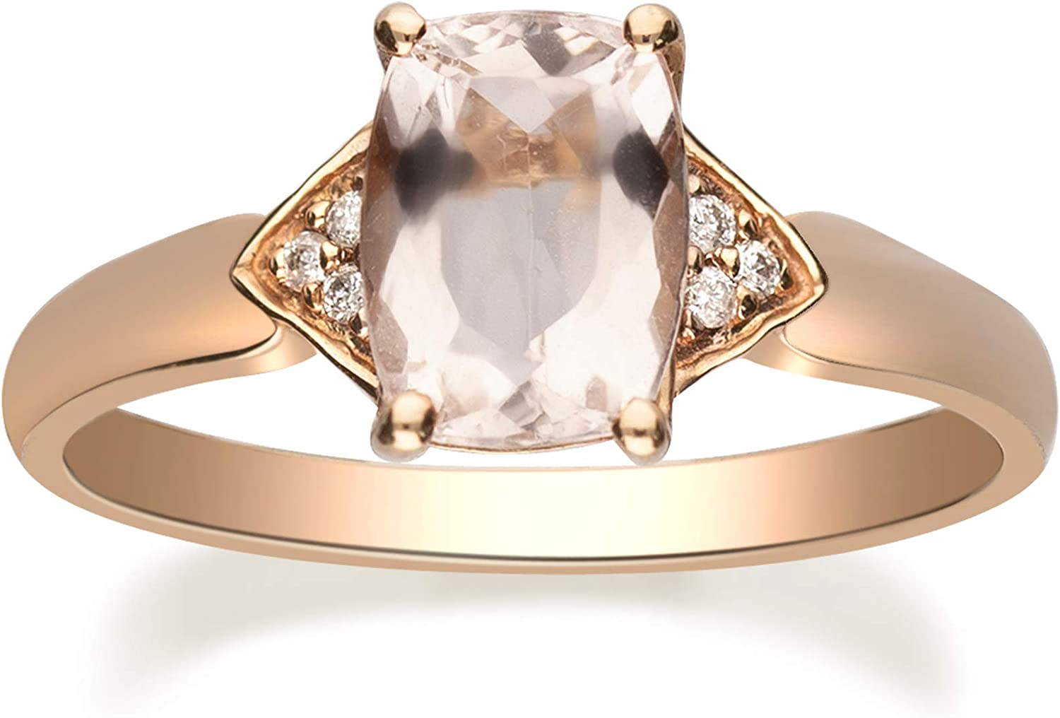 Gin & Grace 10K Rose Gold Real Diamond Engagment Anniversary Promise Ring (I1) with Genuine Morganite Daily Work Wear Jewelry for Women Gifts for Her