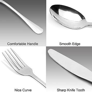 Silverware Set, Imgmnlc 20-Piece Stainless Steel Silverware Flatware Cutlery Set for 4, Knife Fork Spoon Flatware Set, Modern