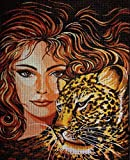 DIY Embroidery Cross Craft Tapestry Embroidery Kit 23X30cm Cross Stitch Embroidery Set Fable Woman Leopard Including multilayer cotton thread [] Bordado con aguja 5D HD cod.050