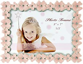 L&T Pink Enamel Picture/Photo Frame Metal with Silver Plated and Crystals, Floral Style 5 x 7 Inch