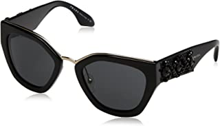 d1cbd1c75db6e Prada PR10TS 1AB5S0 Black PR10TS Square Sunglasses Lens Category 3 Size 52mm
