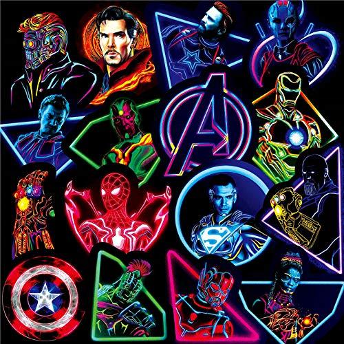 Later Neon Marvel Superhero Graffiti Sticker Cross-border Explosion Luggage Trolley Guitar Cartoon Sticker 60pcs