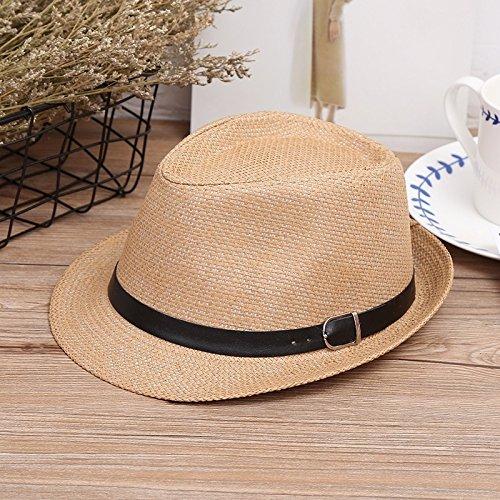 Dosige zonnehoed voor kinderen, strohoed voor kinderen, strandhoed Jazz topper voor kinderen, outdoor-hoed maat 52-54 cm (lichtbruin)