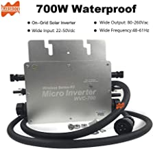 Marsrock IP65 High Efficiency MPPT Micro Solar Inverter 700W for 22-50VDC Wide Input Voltage to 120V/230VAC Auto Switch Suitable for Solar Power System