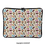 YOLIYANA Adorable Cute Mascots Colorful Animals Pig Elephant Dog Rabbit Joyful Laptop Sleeve Case Water-Resistant Protective Cover Portable Computer Carrying Bag Pouch for 17 inch/17.3 inch Laptop