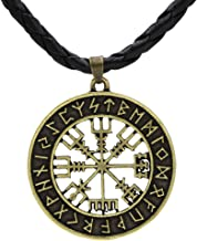 Xicoh Viking Icelandic Vegvisir Helmet Horror in Runic Circle Pendant Magical Staves Compass Rune Amulet Collier Necklace