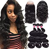 Funky girl Hair 8A Grade 360 Lace Frontal Closure With Bundles Brazilian Body Wave Virgin Hair Bundles With 360 Lace Frontal Unprocessed Human Hair With Frontal (20 22 24 With 18)