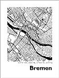 Poster 50 x 70 cm: Stadtplan von Bremen von 44spaces -