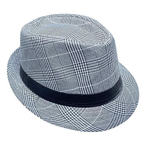 COMVIP Trilby Gangster Fedoras Panama Jazz Hut kurze Krempe Baumwolle Bowler Hüte für Herren/Damen Gr. Einheitsgröße, Kariert Schwarz & Weiß