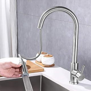 Spültischarmatur Wasserhahn mit 2 Funktionen ausziehbarer Brause für Küche, LONHEO Küchenarmatur Einhebelmischer Mischbatterie Küchenwasserhahn, Edelstahl 360° drehbar