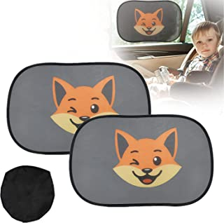 FIGFYOU Solskydd för bilar 2 set solskydd för bilar baby med UV-skydd universellt bilsolskydd rävmönster självhäftande sol...