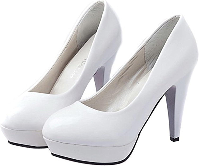 WANabcMAN Comfortable Women's Candy color Waterproof High Heels Pump shoes Wedding shoes White38 EU