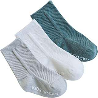 Kalaokei, Kalaokei 3 pares de calcetines de algodón antideslizantes y transpirables, con doble aguja, para recién nacidos, lisos, para niños recién nacidos, 3 pares