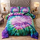 A Nice Night Bedding Tie Dye Galaxy Comforter Set, Psychedelic Swirl Pattern Colorful Boho, Boys Girls Bedding Quilt Sets (Purple, Queen(88-by-88-inches))