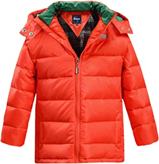 Boys Girls Hooded Winter Quilted Down Coat Fleece Lined Puffer Jacket