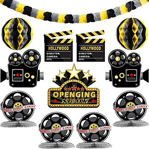 Boao 12 Stücke Hollywood Party Dekoration Kit mit Papier Girlanden Filmnacht Ausschnitten Bienenwabe Tisch Mittelstücke für Filmnacht Party, Preisverleihung Zeremonie