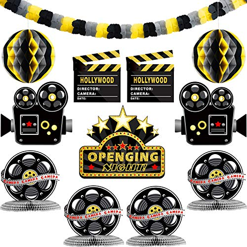 Boao 12 Pieces Hollywood Party Decorations Kit Include Paper Garland Movie Night Cutouts Honeycomb Table Centerpieces for Movie Night Party, Awards Night Ceremony