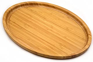 Bamber Large Size Bamboo Serving Tray, Oval, 15.5 x 11.8 x 0.8 Inches