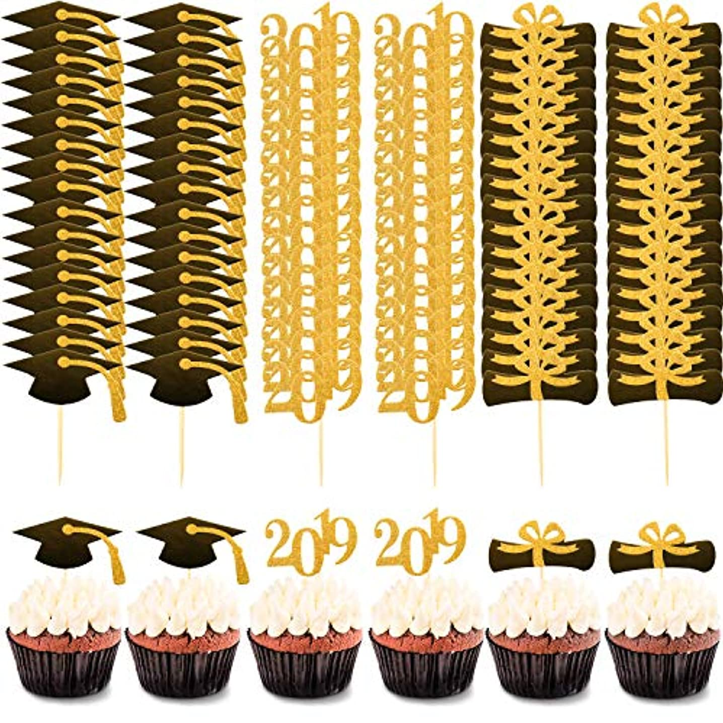 60 Pieces Graduation Cupcake Toppers Class of 2019 Cupcake Topper Picks with Graduation Cap Design for Graduation Party Decoration Supplies (Style Set 3)