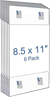 NIUBEE 8.5x11 Clear Acrylic Plastic Sign Holders with Removable 3M Hook and Loop, Wall Sign Memo Document Menu Holder for Office, Home, Store, Restaurant-No Drilling (6 Pack)