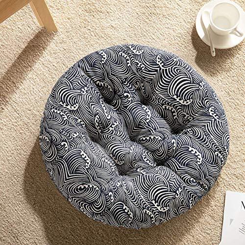 JFFFFWI Cuscino Sedile Traspirante in Cotone, Cuscino Imbottito Rotondo Morbido Antiscivolo per Cuscino ergonomico Tatami bay Window-e 45x45x5cm (18x18x2 Pollici)