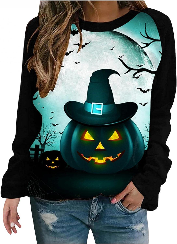 Halloween Crewneck Sweatshirt for Time sale Women Long Casual Tunic Sleeve Raleigh Mall