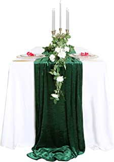 SoarDream Wedding Decorations 29x 120 inch Green Table Runner Cotton Table Runner Emerald Velvet Fabric Table Overlay Wedding Table Runners for Wedding Banquet Decoration