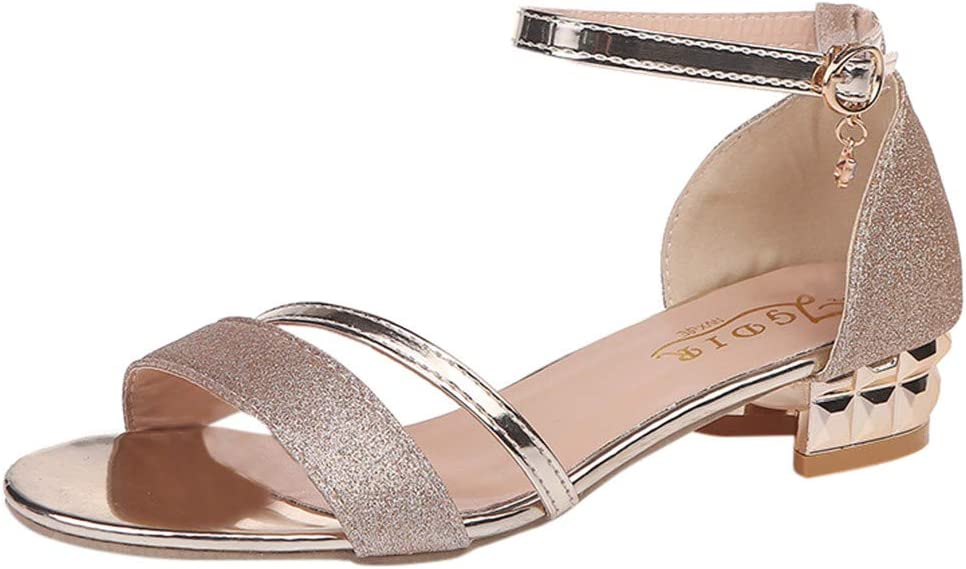 Olymmont Sequins Sandals for Women Casual Summer Ankle Buckle Open Toe Breathable Slides Low Heel Flat Shoes Comfy Dressy Soft Fashion Slippers (Gold, 6)