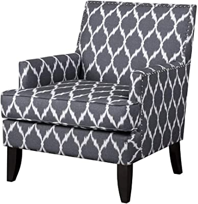 Madison Park Colton Accent Hardwood, Brich Wood, Ogee Print, Bedroom Lounge Mid Century Modern Deep Seating, High Back Club Style Arm-Chair Living Room Furniture, See Below, Grey/White