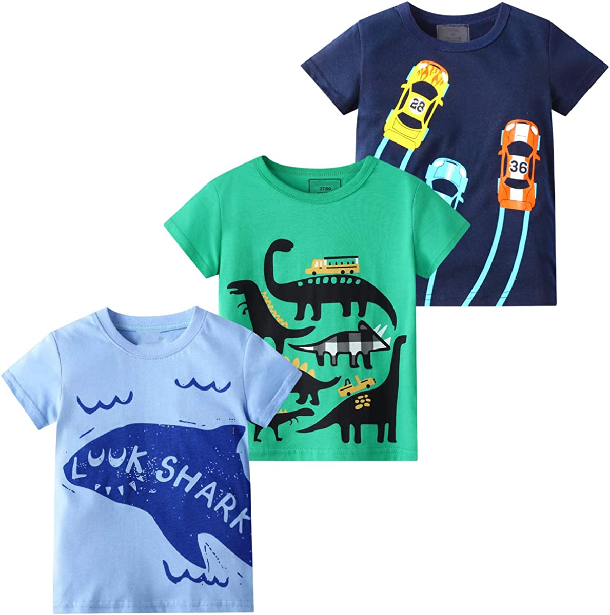 DEEKEY Toddler Little Boys 3-Pack Dinosaur Short Sleeve Crewneck T-Shirts Top Tee Size for 2-7 Years