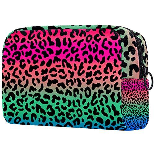 AITAI Grande trousse de maquillage de voyage - Organiseur de produits cosmétiques dégradé de rose, vert, bleu, rose - Motif léopard