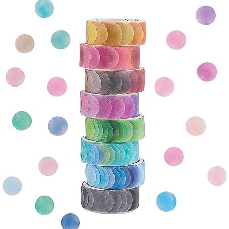Washi Tape,6/8 Rolls Dot Washi Tape Stickers 600/800 pièces Dots Stickers 14mm Largeur Rubans décoratifs Ruban de masquage pour bricolage Scrapbooking Autocollants Emballage de décoration (8 Colors)