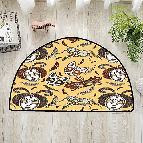 DESPKONMATS Masquerade Polyester Semi-Circular Rug,Venetian Style Paper Mache Face Mask with Feathers Dance Event Theme Printing Carpet,Entrance Hall Kitchen Bedroom Bathroom Washable Machine