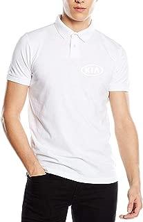 HANRUI Personalized KIA_Motors Logo New Polo Shirt for Male 100% Organic Cotton V-Neck Black