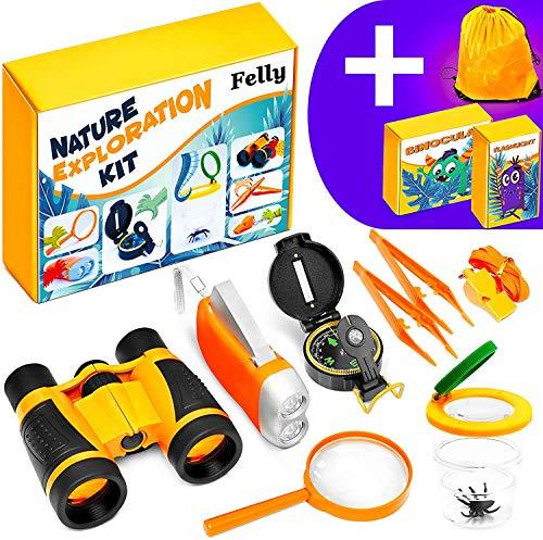 Felly Kinder Fernglas Spielzeug Set, 10 Stück Draussen Forscherset für Kinder, Spielzeug ab 3 4 5 6 7 8 + Jahre mit Bug Catcher Pinzette Insect Viewer Kompass Lupe für Camping und Outdoor-Sport