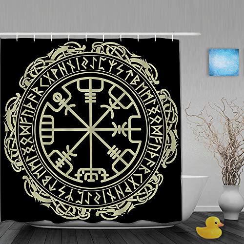 AMIGGOO Duschvorhang,Magic Runic Compass Vegvisir im Kreis der nordischen Runen & Drachen,Bad Vorhang waschbar Bad Vorhang Polyester Stoff mit 12 Kunststoffhaken 180x210cm