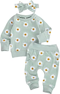 Afunbaby Cute Baby Girl Fall Outfit Long Sleeve Shirt Tops&Daisy Pants Headband 3Pcs Clothes for Infant Toddler