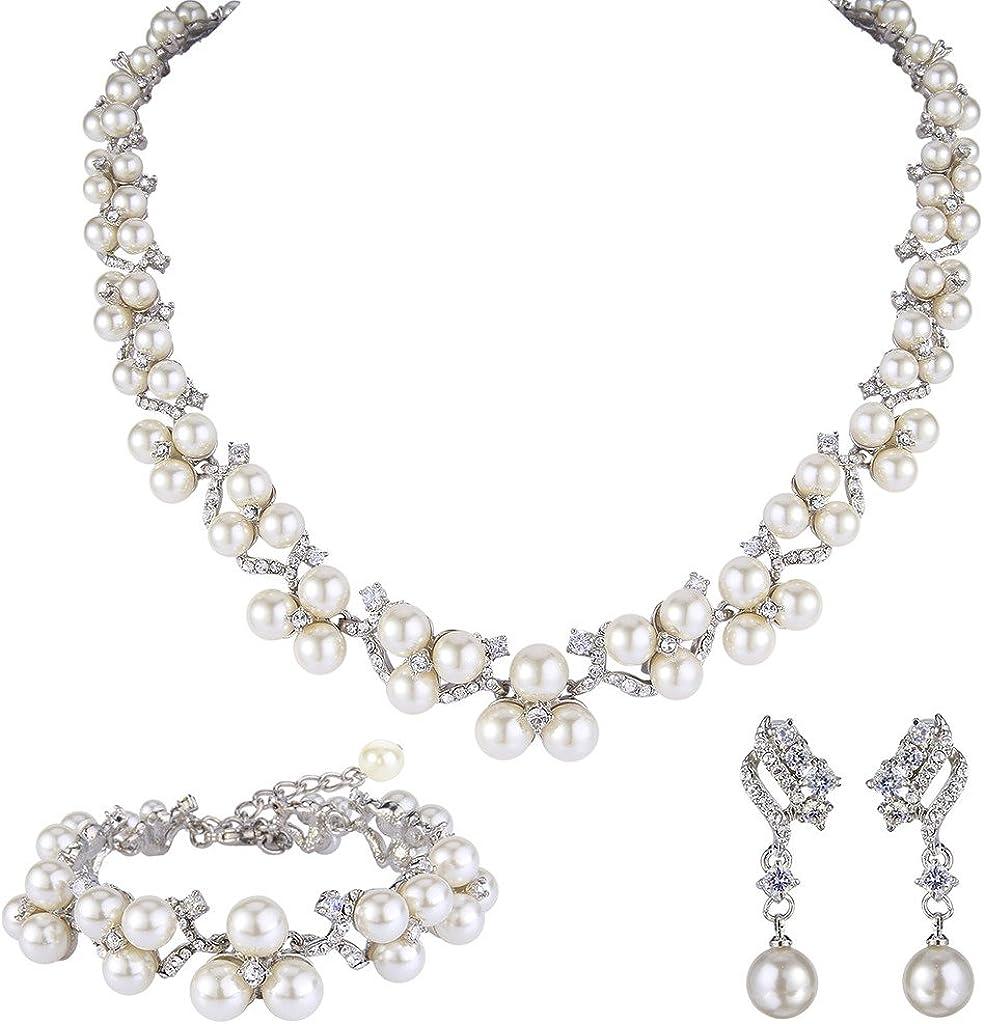 EVER FAITH Austrian Crystal CZ Simulated Pearl Victorian Style Necklace Earrings Bracelet Set Clear