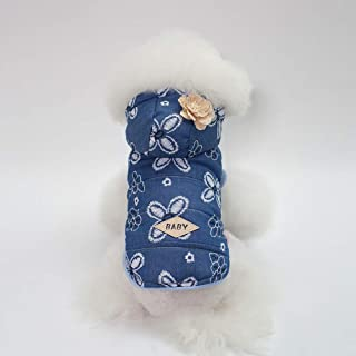 Doggy Costume Autumn and Winter New Dog Clothes pet Supplies Teddy Schnauzer Lady Denim Jacket (Color : Light Blue, Size : M) Pet Dog Clothes